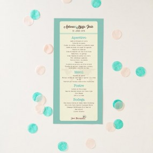 Minuta personalizada para bodas