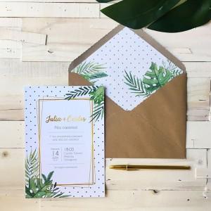Invitación de boda tarjetón TROPICAL